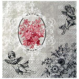 Салфетка Ангелы и цветы в графике 33 см 2-7081