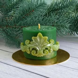 Свеча  из натурального пчелиного воска с декором Вензель
