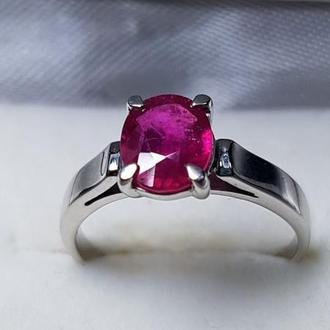 Кольцо с Рубином, серебро родированное