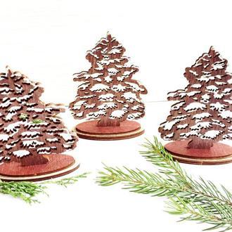 Деревянная елочка. Настольный новогодний декор.
