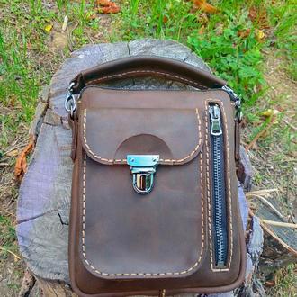 Мужская сумка из натуральной кожи Крейзи Хорс.