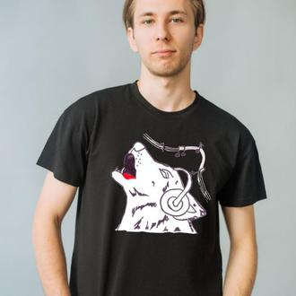 Мужская белая и черная футболка с оригинальным принтом рисунком