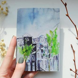 Блокнот с черными страницами и белая ручка. Формат А5 и А6. Авторская иллюстрация Дождь в Амстердаме
