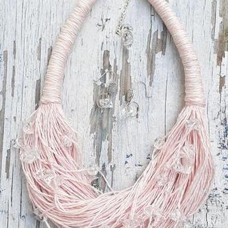 Комплект украшений из итальянского льна: розовое колье и серьги