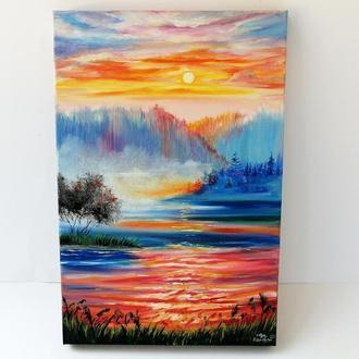 Картина маслом закат на озере, Красивый закат маслом, Картина с закатом, Картина на подарок