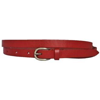 Ремень женский кожаный красный узкий Classica4r15