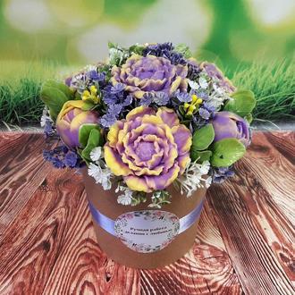 Букет цветов из мыла Пионы