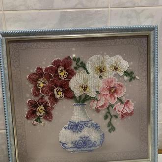 "Картина вышивка бисером ""Орхидеи"""