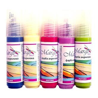Краска акриловая 20 мл Margo, основные цвета
