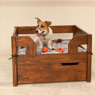 Деревянная Кроватка для собаки с матрасом и ящиком