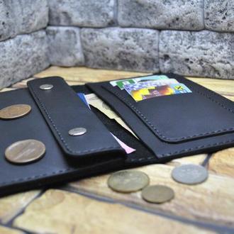 Черный кошелек из натуральной кожи K09-0