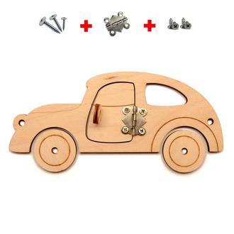 Заготовка для Бизиборда Ретро Автомобиль с Дверкой 15 см Машина для бізіборда