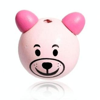 Деревянная Бусина Мишка 3 см Розовый Цвет для Бизиборда Дерев'яна Бусинка для Бізіборда з Дерева