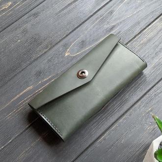 Зеленый женский кошелек из натуральной кожи