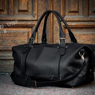 Дорожная сумка из винтажной кожи черного цвета