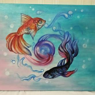 "Картина акрилом ""Рыбки"""