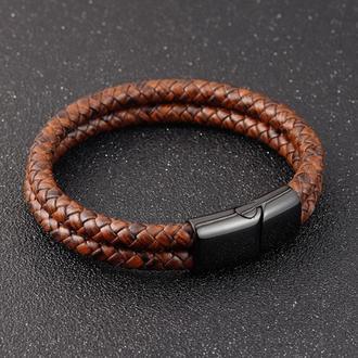 Кожаный именной браслет Dual