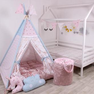 Детская палатка-вигвам с велюровым ковриком Бабочки 125х125х170 см