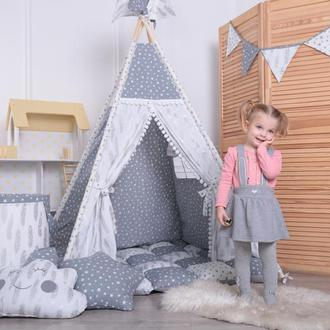 Детская палатка-вигвам с ковриком Серые Звезды 125х125х170 см