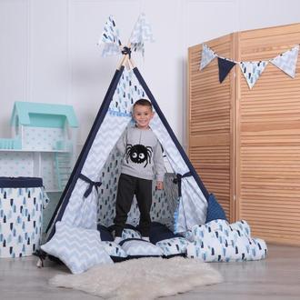 Детская палатка-вигвам с ковриком Синий 125х125х170 см