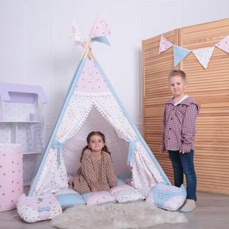 Детская палатка-вигвам с ковриком Розовые бабочки125х125х170 см