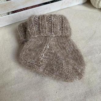 Вязаные детские носочки   Пинетки   Носочки для новорожденных бежевые