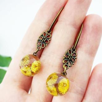 Ажурные бронзовые серьги с пижмой Украшения с цветами и растениями (модель №2601) Glassy Flowers