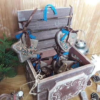 """набор деревянных елочных игрушек """"Лесная сказка"""""""