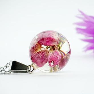 Кулон с вереском. Подвеска с розовым вереском. Украшения из цветов. (модель № 2603) Glassy Flowers