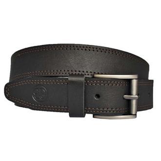 Ремень кожаный мужской черный с коричневой строчкой для джинсов Leader