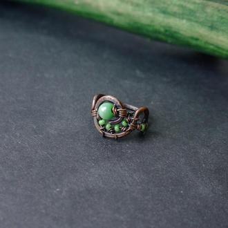 """Медное кольцо с кошачим глазом""""лиана"""""""