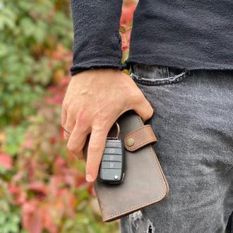 Кожаный кошелек коричневого цвета, портмоне клатч для мужчины, гравировка
