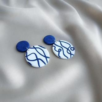 """Сережки """"La mer"""". Сережки з полімерної глини. Кульчики. Серьги. Ручна робота."""