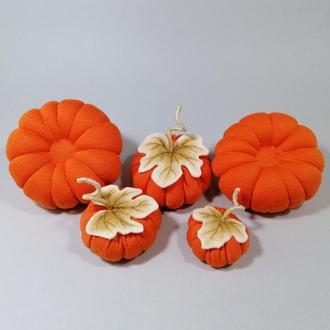 Ярко оранжевые тыквы на Хэллоуин Осенний декор мягкая тыква Оранжевый декор на хеллоуин