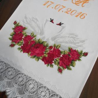 """Свадебный рушник """"под каравай"""" бордовые розы"""