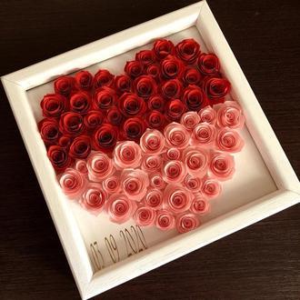 Подарок на день рождение/ Подарок девушке на годовщину / Картина из цветов / Индивидуальный подарок