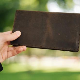 Кожаный портмоне коричневого цвета, стильный мужской кошелек, гравировка имени