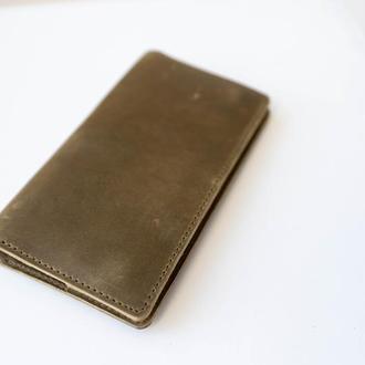 Кожаное женское портмоне клатч, подарок девушке, кошелек из кожи