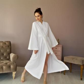 Белый халат из натурального льна