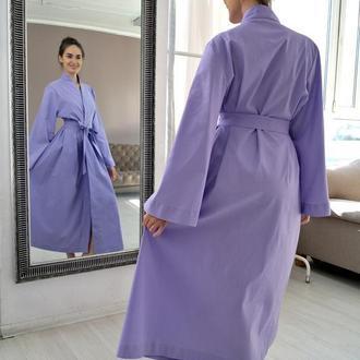 Лавандовый халат-кимоно из натурального льна