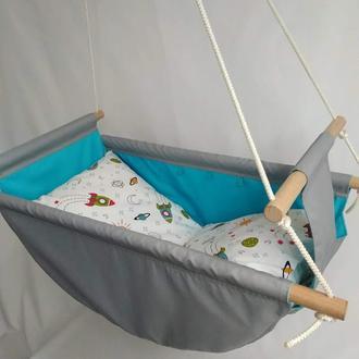 Колыбель, колиска, гойдалка, качеля-гамак подвесная для детей от 2-3 мес. до 4-5 лет, космос