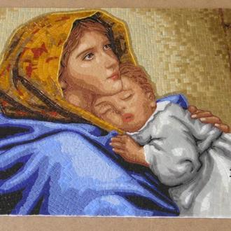 Картина из мозаики под раму. Дева Мария с младенцем.