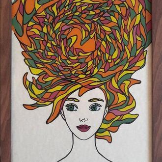 """""""Осень"""", серия """"Времена года"""", стекло, тушь, масляные краски, формат А4"""