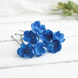 Шпильки с синими маленькими цветами в прическу невесте,  Свадебные шпильки
