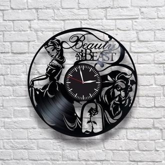 Красавица и чудовище. Настенные часы из виниловых пластинок (ГРАМПЛАСТИНОК). Уникальный подарок!