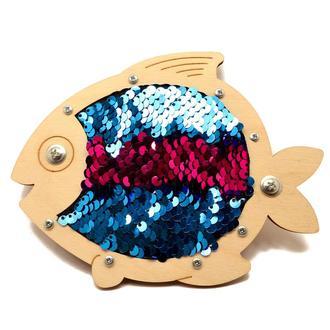 Заготівля для Бизиборда Рибка з Паєтками Рожевий і Блакитний Паєтки Блестяшки рибка з паєтками