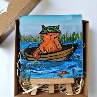 Миниатюра маслом кот рыбак, Прикольный сувенир, Миниатюра маслом, Подарок рыбаку, Картина на подарок