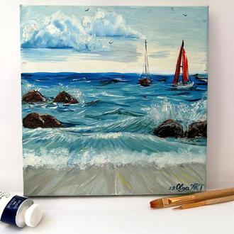"""Картина маслом, морской пейзаж """"Яхты в море"""", Морской пейзаж, Яхты на море, Красивый пейзаж"""