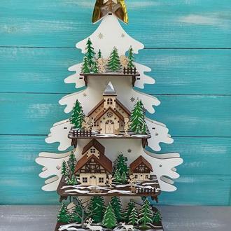 Авторская деревянная ёлка с игрушками и подсветкой, новогодняя ёлка с декором