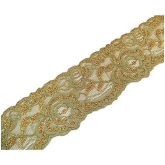 Лента органза с вышивкой золотом оливковая,  5,5 см